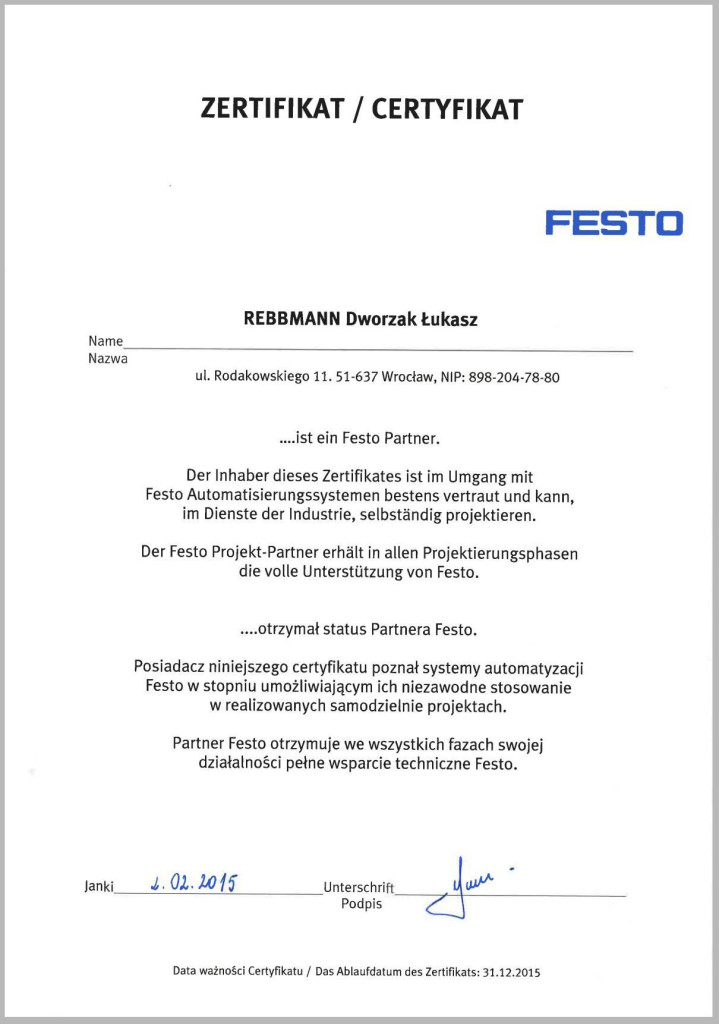 certyfikat Festo 2015 v2