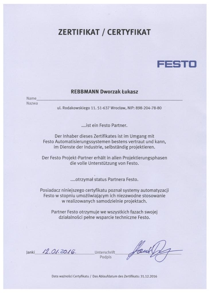 certyfikat Festo 2016 v3